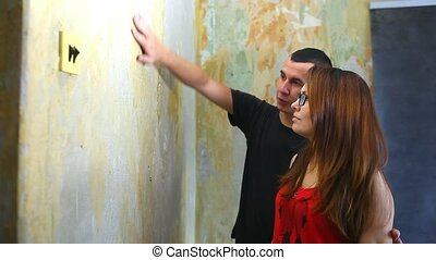woman and man working family house painter paints wall...