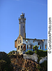 Lighthouse positioned on Alcatraz Island - The working...