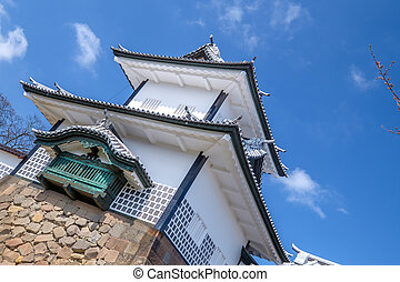 Kanazawa castle in Japan - The famous white castle in...