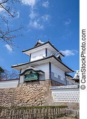 Kanazawa castle in Japan - The famous white castle in...