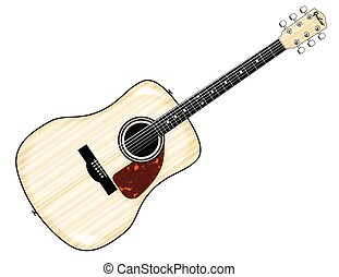 Pale Acoustic Guitar - A typical acoustic guitar isolated...