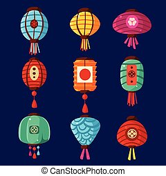 Colourful Lanterns. Vector Illustration Set
