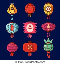 Colourful Lanterns Set. Vector Illustration
