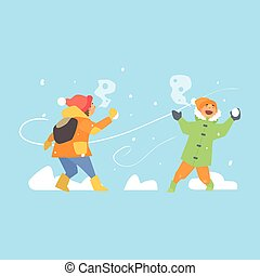 Cheerful Kids Throwing Snowballs. Vector Illustration