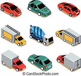 Transport Icon Set Flat 3d Isometric Collection