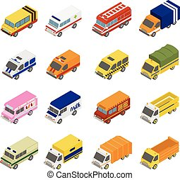 Utility Transport Icon Set Flat 3d Isometric Collection