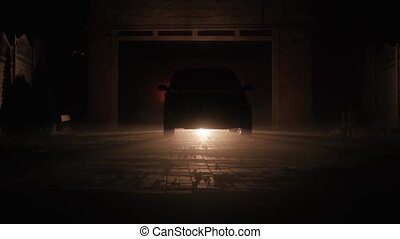 the car switch on xenon headlights at night - the car in the...