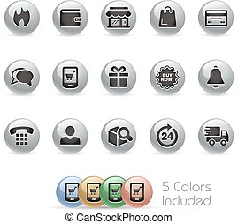 E-Shop Icons - MetalRound - The vector file includes 5 color...