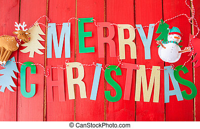 Background for christmas - Red rustic background with Merry...