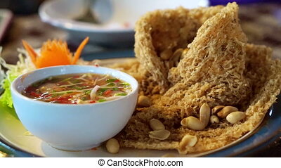 Fried catfish spicy salad Thai food - Fried catfish spicy...
