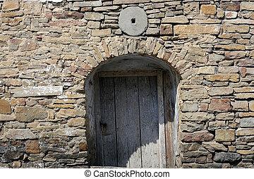 casa, vecchio, porta, abbandonato