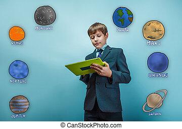 Adolescente, niño, hombre de negocios, trabajando,...