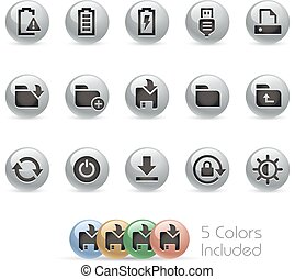 Web & Mobile Icons 3 - MetalRound - The file includes 5...