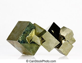 Pyrite crystals - An aggregate of pyrite crystals, Spain...