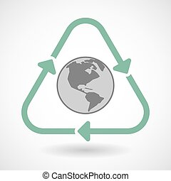 line art recycle sign vector icon with an America region world globe