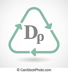 line art recycle sign vector icon with a drachma currency...