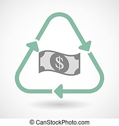 line art recycle sign vector icon with a dollar bank note -...