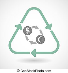 line art recycle sign vector icon with a dollar euro exchange sign