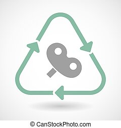 line art recycle sign vector icon with a toy crank - Vector...