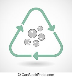 line art recycle sign vector icon with oocytes - Vector...