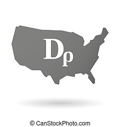 isolated USA vector map icon with a drachma currency sign -...