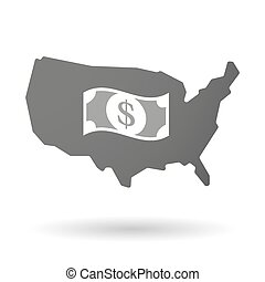 isolated USA vector map icon with a dollar bank note -...