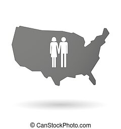 isolated USA vector map icon with a heterosexual couple...