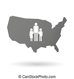 isolated USA vector map icon with a male single parent family pictogram
