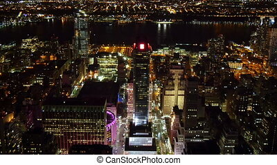 New York City at night high angle - New York City and Hudson...