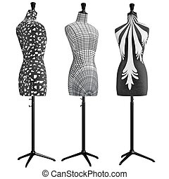 Classical female mannequins trimmed cloth. 3D graphic object...