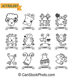 Astrology - Illustration of the main symbols of astrology...
