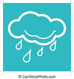 Rain Weather Icon. Weather Icons with Blue Background....