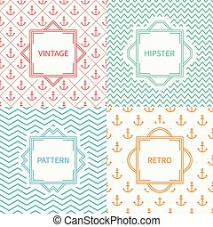 Set of mono line marine geometric seamless pattern with anchor. Vintage frames in red, green, blue, gold. Wrapping paper. Background. Texture for greeting cards, wedding invitations. Labels, badges.