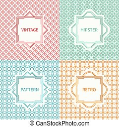 Set of mono line seamless pattern with circle, round. Vintage frames in red, green, blue, gold. Wrapping paper. Background. Texture for greeting cards, wedding invitations. Labels, badges.