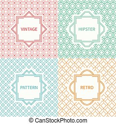 Set of mono line geometric seamless cube pattern with square, cube. Vintage frames in red, green, blue, gold. Vector background. Graphic texture for greeting cards. Labels, badges. Illusion effect.