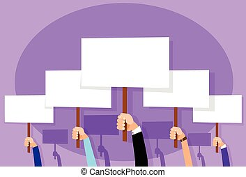 Group of People Hands Crowd Hold Placard Sign Board Blank...