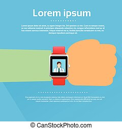 Smart Watch Medical Doctor Application Flat Vector...