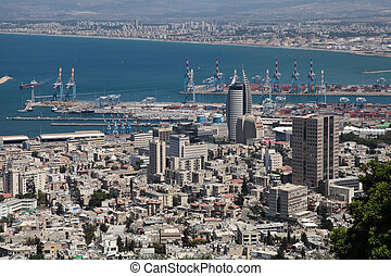 View from Mount Carmel to port and Haifa in Israel -...