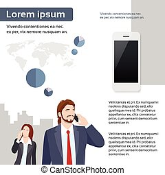 Businesspeople Chat Smart Phone Talk Infographics Communication Web Page Layout Template