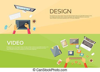 Video Editor Workplace Hands Laptop Player Web Banner Set...