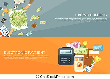 Payment Options Phone Money Credit Web Banner Set Flat...
