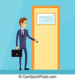 Businessman Stand Hold Handle Open Door Concept