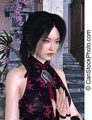 Asian Beauty - 3D digital render of an Asian beauty on an...