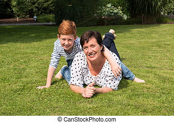 happy family having fun in the garden