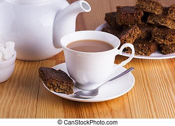 Tazza, tè, rottura, pomeriggio, inglese, torta