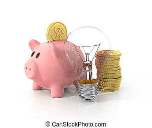 Concept of saving money on the energy. Piggy bank with coins and light bulb.