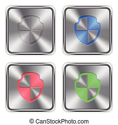 Color shield steel buttons - Color shield icons engraved in...