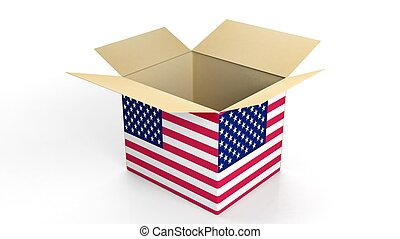 Carton box with USA national flag, isolated on white...