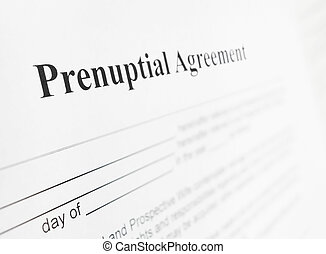 Prenup agreement - Closeup of a prenuptial marriage...