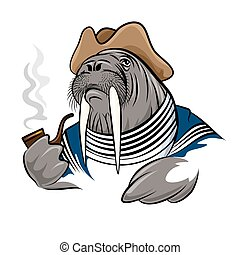 Smoking Walrus - Walrus in seamans clothes with smoking...